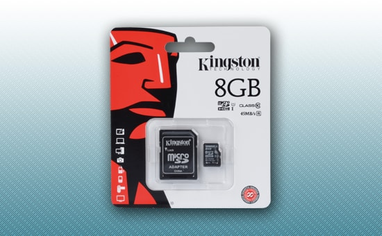 Картa памяти Kingston microSD 8GB Class 10