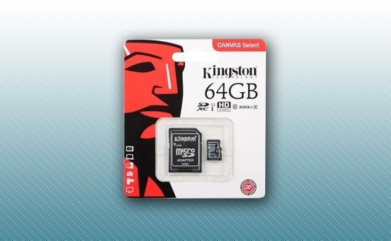 Карта памяти MicroSD 64Gb Kingston Canvas Select